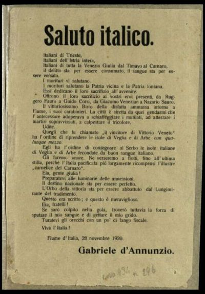Saluto italico  / Gabriele d'Annunzio