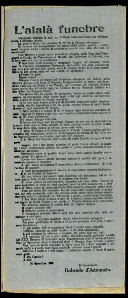 L'alalà funebre  / il comandante Gabriele d'Annunzio