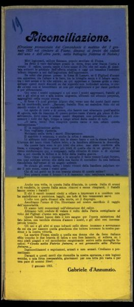 Riconciliazione  / Gabriele d'Annunzio