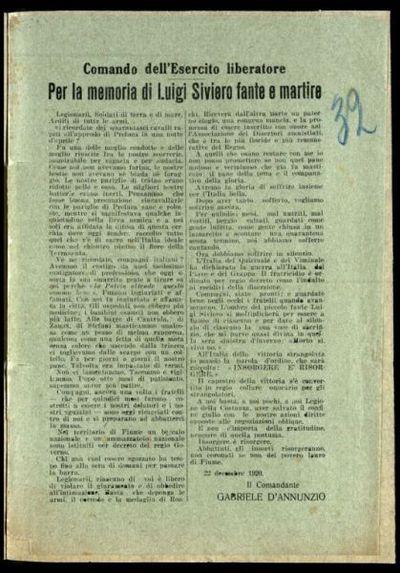 Per la memoria di Luigi Siviero fante e martire  / il comandante Gabriele d'Annunzio
