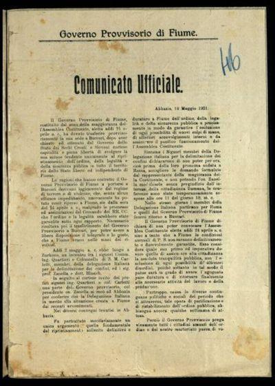 Comunicato ufficiale  / Governo provvisorio di Fiume