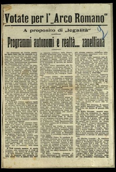 Votate per l'Arco Romano, a proposito di legalità programmi autonomi e realtà ... zanelliana