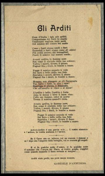 Gli Arditi  / Gabriele d'Annunzio
