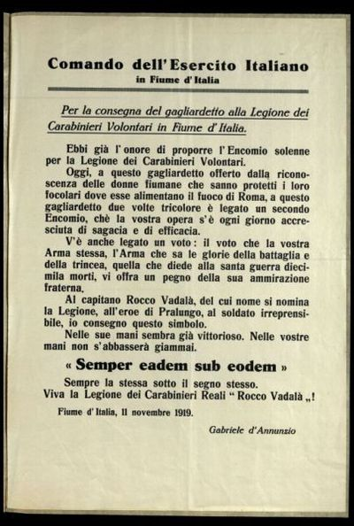 Per la consegna del gagliardetto alla Legione dei Carabinieri volontari in Fiume d'Italia  / Gabriele d'Annunzio
