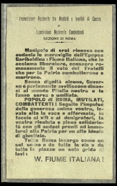 Associazione Nazionale tra Mutilati e Invalidi di Guerra e Associazione Nazionale Combattenti sezione di Roma