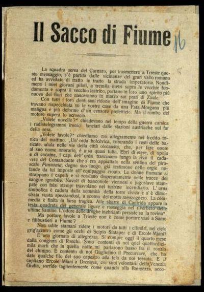 Il sacco di Fiume  / Gabriele d'Annunzio