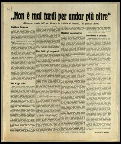 Non è mai tardi per andar più oltre  : discorso tenuto dall'on Alceste de Ambris ai fiumani, l'11 gennaio 1920