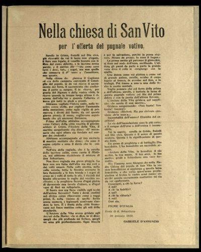 Nella chiesa di san Vito per l'offerta del pugnale votivo  / Gabriele d'Annunzio