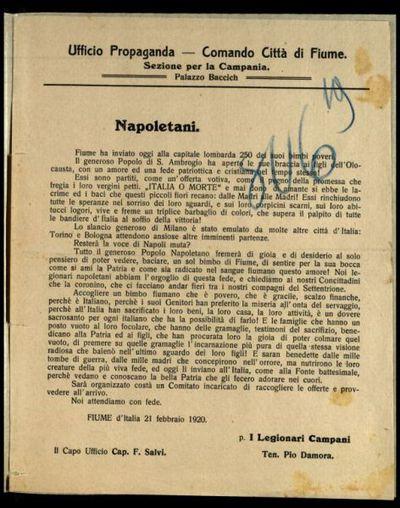 Napoletani  / Ufficio propaganda. Comando città di Fiume, sezione per la Campania, palazzo Baccich