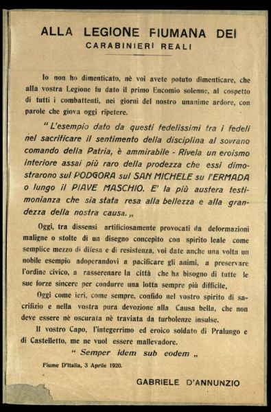Alla legione fiumana dei carabinieri reali  / Gabriele d'Annunzio