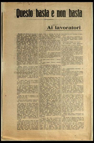 Questo basta e non basta  : ai lavoratori  / Gabriele d'Annunzio
