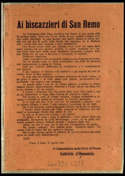 Ai biscazzieri di San Remo  / il comandante della città di Fiume Gabriele d'Annunzio