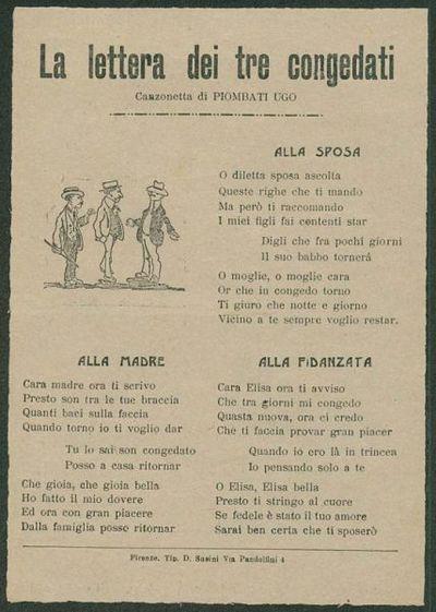 La lettera dei tre congedati  / canzonetta di Piombati Ugo