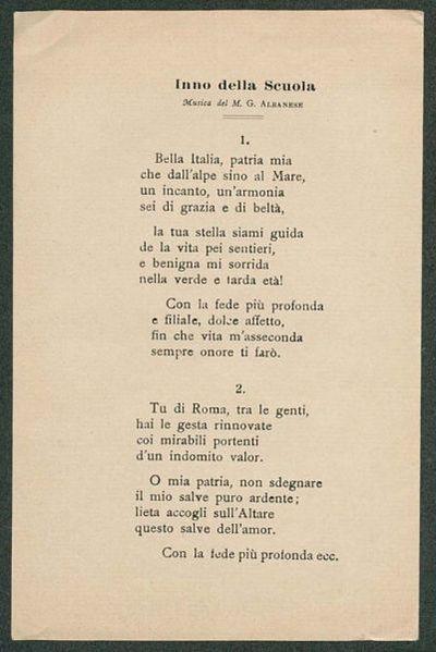 Inno della scuola  / musica del M. G. Albanese, Domenico Beisso