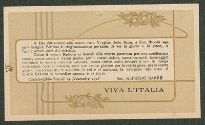 A Dio Altissimo, alla nostra cara Vergine delle Rose, a San Nicolò nostro Insigne Patrono il ringraziamento perenne  / Sac. Alfredo Barrè