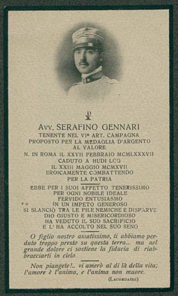 Avv. Serafino Gennari tenente nel 6. art. campagna proposto per la medaglia d'argento al valore ..