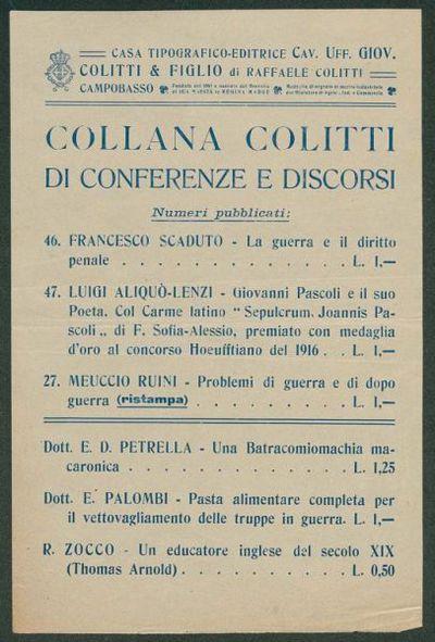 Collana Colitti di conferenze e discorsi  / Casa Tipografico-Editrice Cav. Uff. Giov. Colitti & figlio