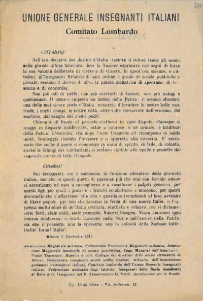 Cittadini! Nell'ora decisiva dei destini d'Italia, mentre il dolore tende gli animi ... / Unione Generale Insegnanti Italiani ..