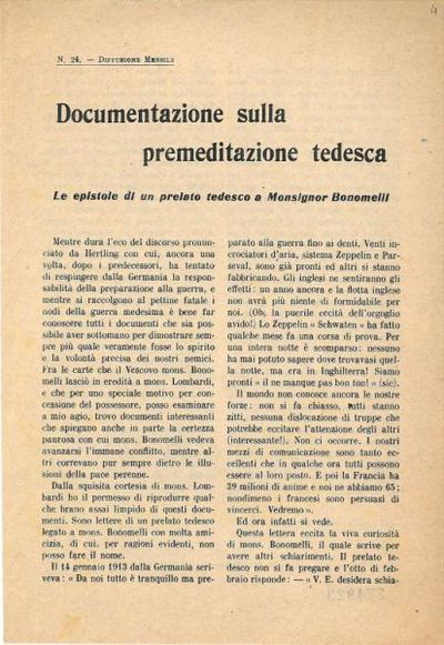 Documentazione sulla premeditazione tedesca : le epistole di un prelato tedesco a monsignor Bonomelli