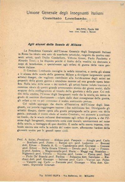 Agli alunni delle scuole di Milano ... / Unione Generale degli Insegnanti Italiani, Comitato Lombardo