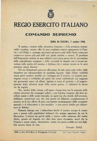 Comando supremo, zona di guerra, 7 ottobre 1918 / Regio Esercito italiano