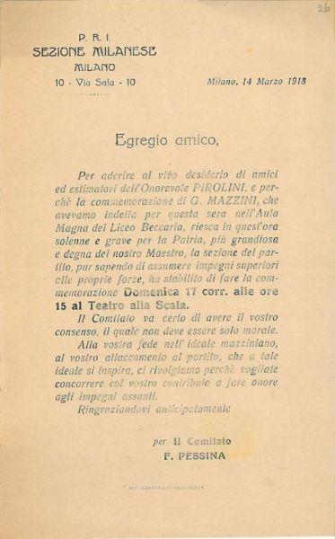 Egregio amico / P.R.I., Sezione milanese