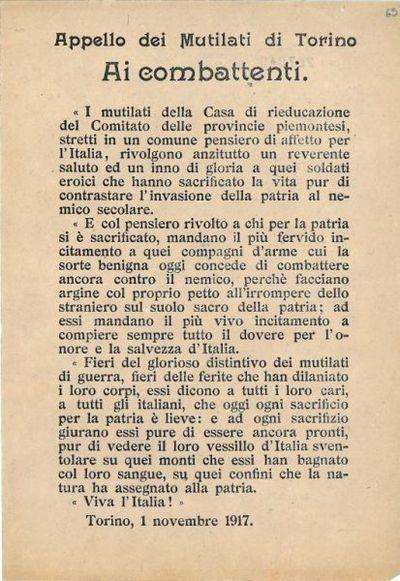 Appello dei mutilati di Torino ai combattenti