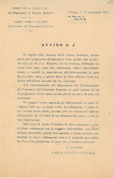 Avviso n. 3 / Comitato di Assistenza ai prigionieri di guerra italiani ; Croce Rossa Italiana, Commissione dei Prigionieri di guerra