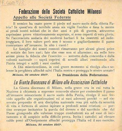 Appello alle Società federate . La Giunta Diocesana di Milano alle Associazioni Cattoliche / Federazione delle Società Cattoliche Milanesi