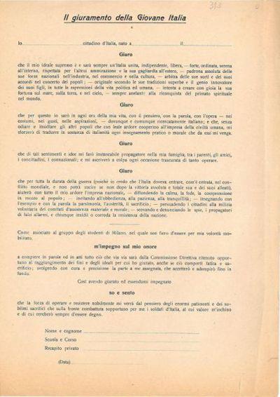 Il giuramento della Giovane Italia