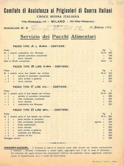 Circolare n. 3 : servizio dei pacchi alimentari / Comitato di assistenza ai prigionieri di guerra, Croce Rossa Italiana