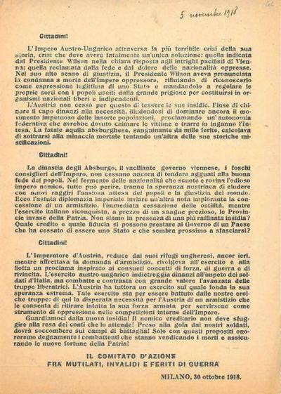 Cittadini! : l'Impero Austro-Ungarico attraversa la più terribile crisi della sua storia / Il Comitato d'Azione fra mutilati, invalidi e feriti di guerra