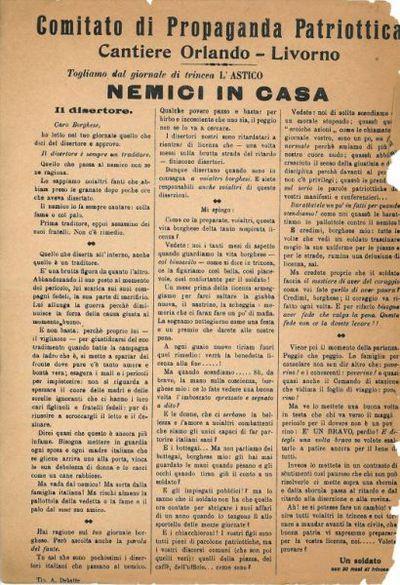 Nemici in casa / Comitato di Propaganda Patriottica, Cantiere Orlando, Livorno