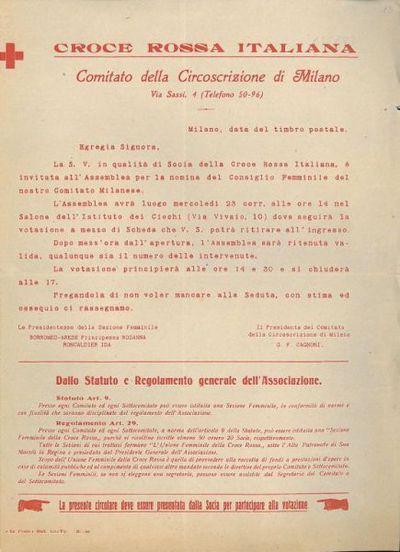 Egregia signora / Croce Rossa Italiana, Comitato della Circoscrizione di Milano