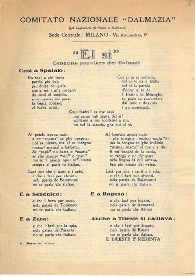 El si : canzone popolare dei Dalmati / Comitato nazionale Dalmazia