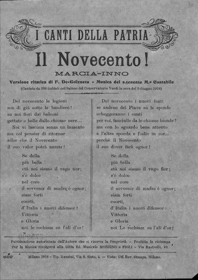 Il Novecento! : marcia-inno / versione ritmica di F. De Goizueta