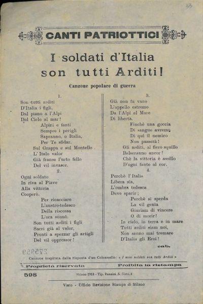 I soldati d'Italia son tutti Arditi! : canzone popolare di guerra