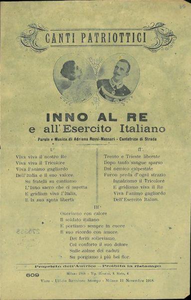 Inno al Re e all'esercito italiano / parole e musica di Adriana Rossi-Massari, cantatrice di strada