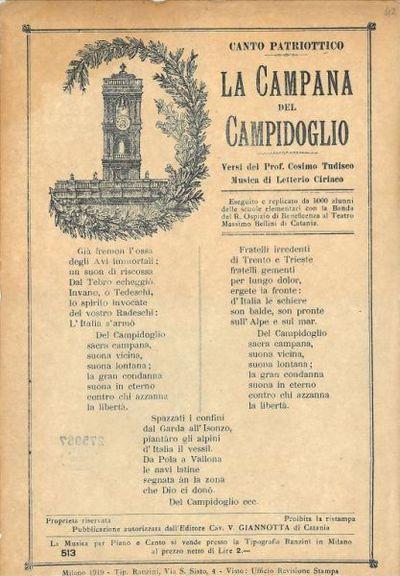 La campana del Campidoglio : canto patriottico / versi del prof. Cosimo Tudisco