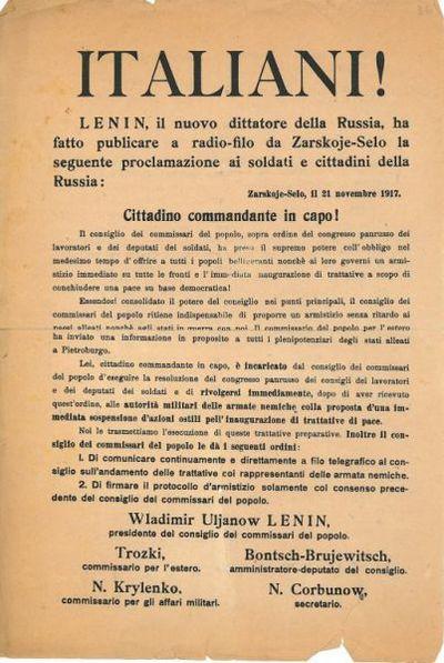 Italiani! : Lenin, il nuovo dittatore della Russia, ha fatto pubblicare a radio-filo da Zarskoje-Selo la seguente proclamazione ai soldati e cittadini della Russia