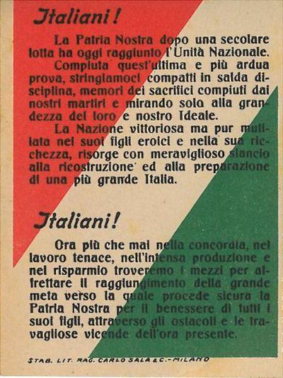 Italiani! : la Patria Nostra dopo una secolare lotta ha oggi raggiunto l'Unità Nazionale