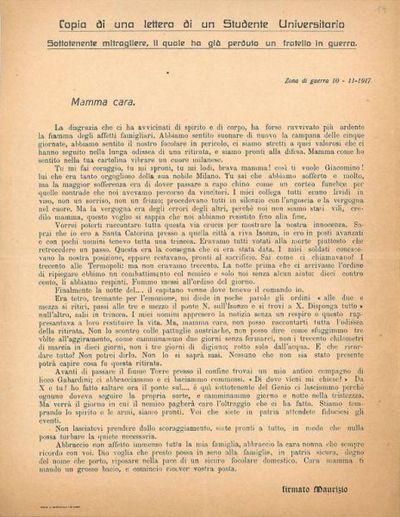 Copia di una lettera di un [sic!] studente universitario Sottotenente mitragliere, il quale ha perduto un fratello in guerra