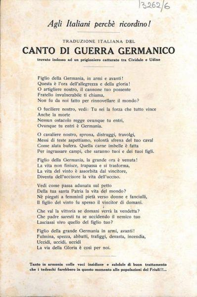 Agli italiani perché ricordino! : traduzione ialiana del canto di guerra germanico : trovato indosso ad un prigioniero catturato tra Cividale e Udine