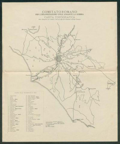 Carta topografica delle Delegazioni per sussidi e asili per i figli dei richiamati nell'Agro Romano  / Comitato Romano per l'organizzazione civile durante la guerra