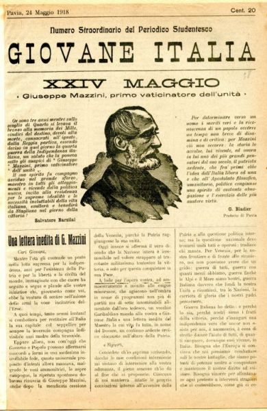 Giovane Italia : numero straordinario del periodico studentesco : pubblicazione di propaganda dell'Unione Generale Insegnanti Italiani, Comitato Lombardo