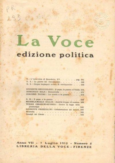 La voce. Edizione politica / direttore Giuseppe Prezzolini