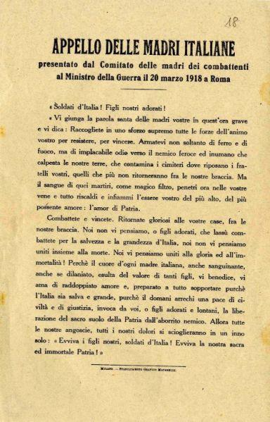 Appello delle madri italiane presentato dal Comitato delle madri dei combattenti al Ministro della Guerra il 20 marzo 1918 a Roma