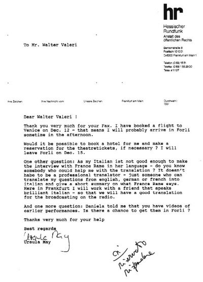 Lettere Mostre di Dario Fo e Franca Rame<BR>Documenti dal 1972