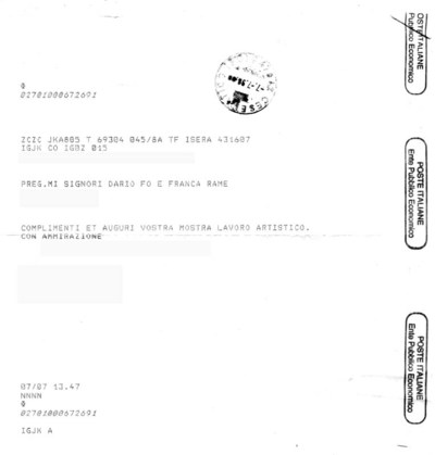Telegrammi Mostre di Dario Fo e Franca Rame<BR>Documenti dal 1972