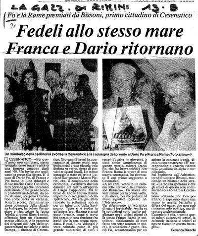 Articoli Premi e riconoscimenti a  Dario Fo oppure a Franca Rame e Dario Fo